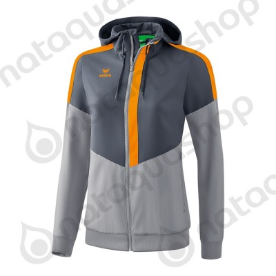 VESTE A CAPUCHE TRACKTOP SQUAD - FEMME slate grey/monument grey/new orange