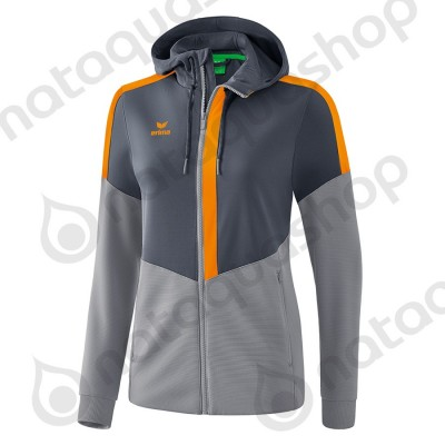 VESTE D'ENTRAINEMENT A CAPUCHE SQUAD - FEMME slate grey/monument grey/new orange