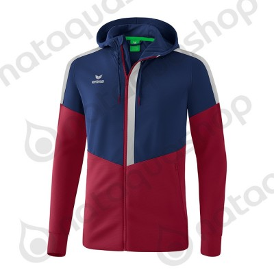 VESTE D'ENTRAINEMENT A CAPUCHE SQUAD - JUNIOR new navy/bordeaux/silver grey