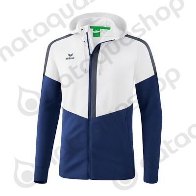 VESTE D'ENTRAINEMENT A CAPUCHE SQUAD - JUNIOR blanc/new navy/slate grey
