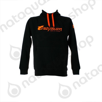 CRAZY SWIM HOODIE Noir / orange
