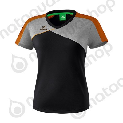 TEE-SHIRT PREMIUM ONE 2.0 - LADIES black/heather grey/fluo orange