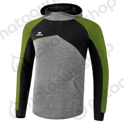 SWEAT A CAPUCHE PREMIUM ONE 2.0 - HOMME gris chiné/noir/lime pop