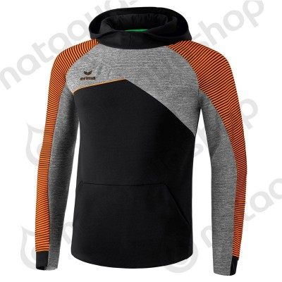 SWEAT A CAPUCHE PREMIUM ONE 2.0 - HOMME noir/gris chiné/fluo orange