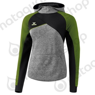 SWEAT A CAPUCHE PREMIUM ONE 2.0 - FEMME gris chiné/noir/lime pop