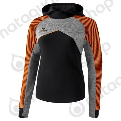 SWEAT A CAPUCHE PREMIUM ONE 2.0 - FEMME noir/gris chiné/fluo orange