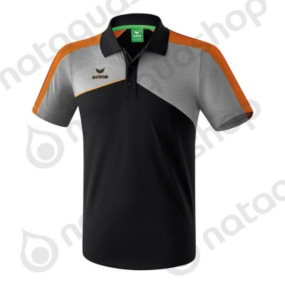 POLO PREMIUM ONE 2.0 - HOMME black/heather grey/fluo orange