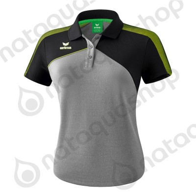 POLO PREMIUM ONE 2.0 - FEMME gris chiné/noir/lime pop