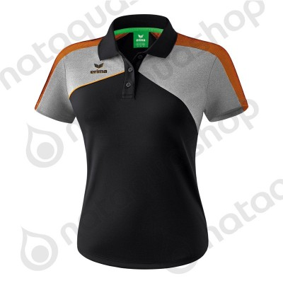 POLO PREMIUM ONE 2.0 - LADIES black/heather grey/fluo orange